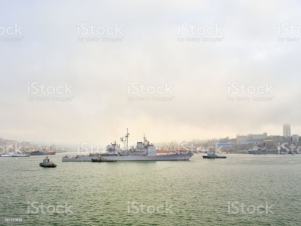 Russian Destroyer In Harbor stock photo