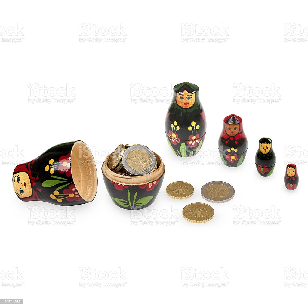 Russian Doll Filled With Money royalty-free stock photo