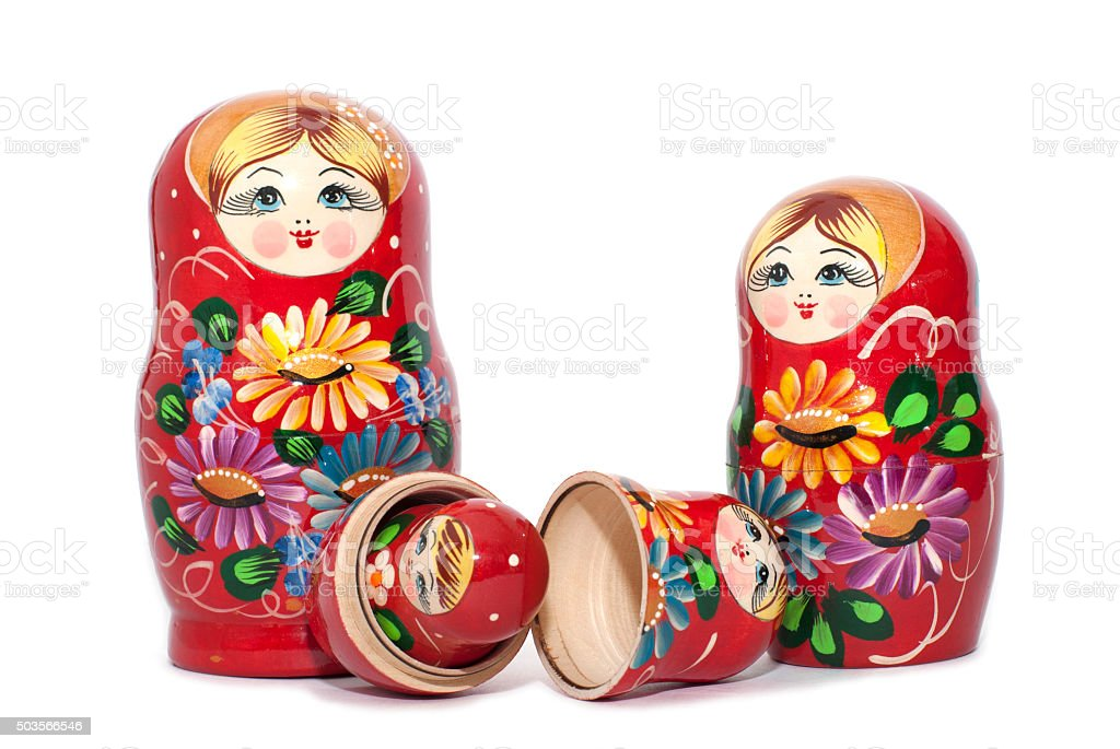 Russian doll matreshka isolated on white background stock photo