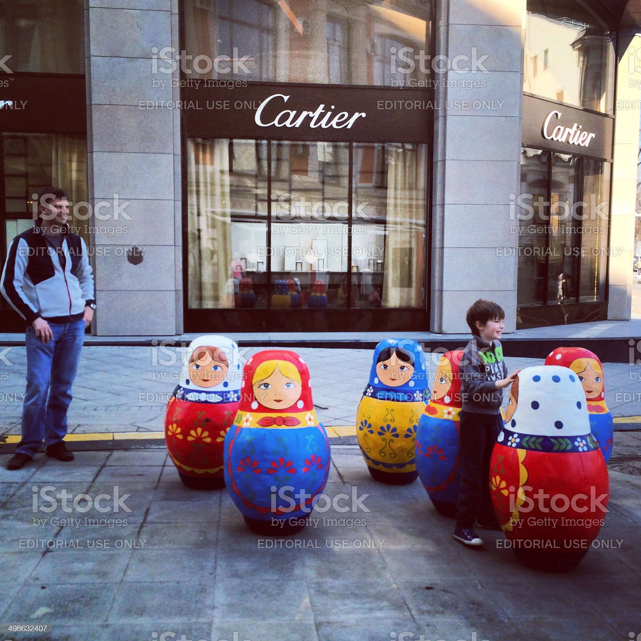 Russian dolls  and Cartier store in Moscow, Russia royalty-free stock photo