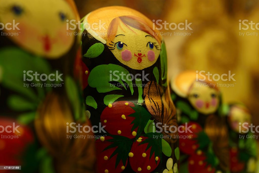 Russian dolls close-up stock photo