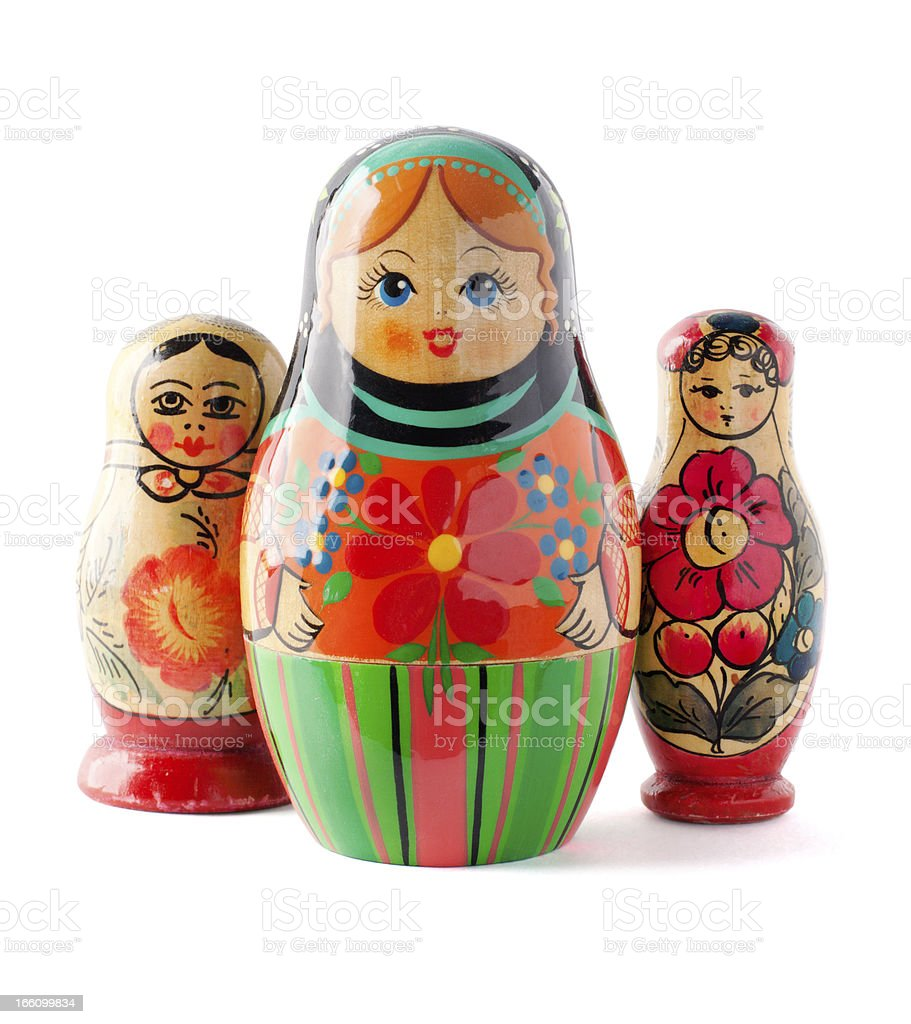 Russian dolls isolated on white background stock photo