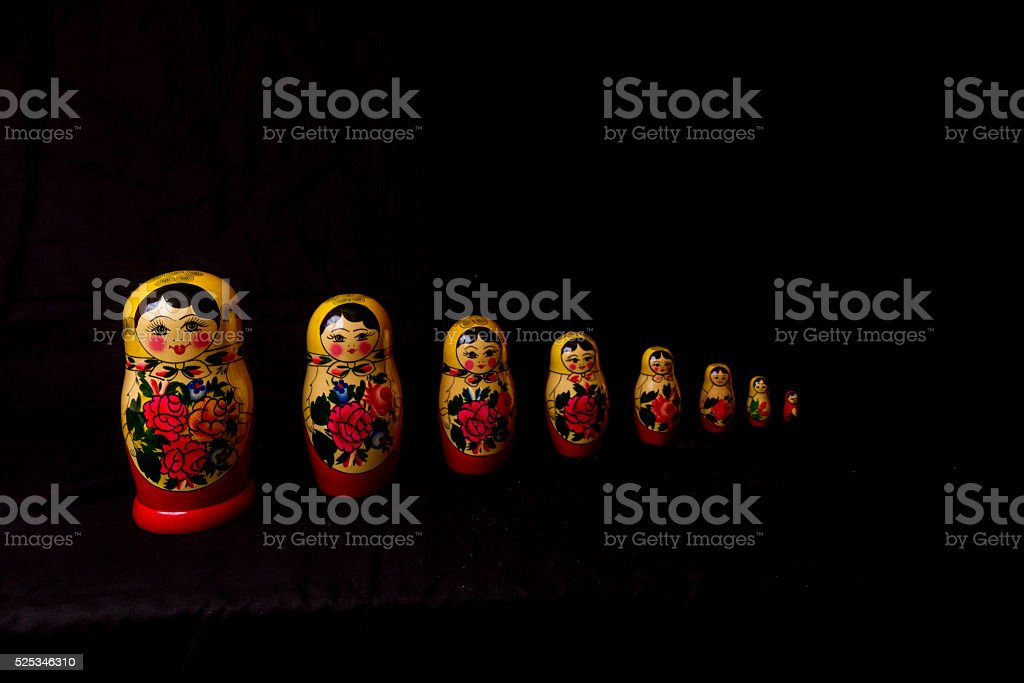 Russian Dolls matryoshka in low light stock photo