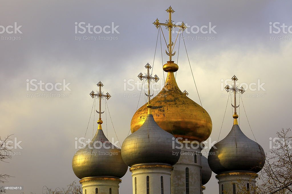 Russian domes church - Novodevichy convent in Moscow, Russia stock photo