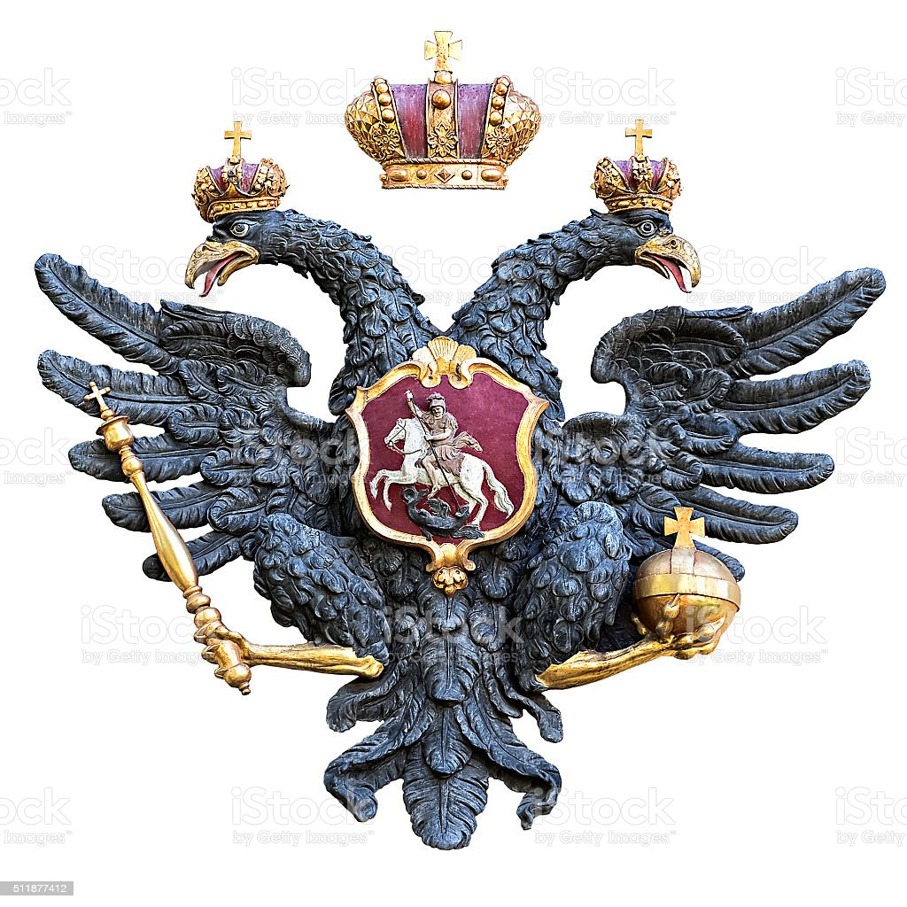 Russian double-headed eagle isolated on white background stock photo