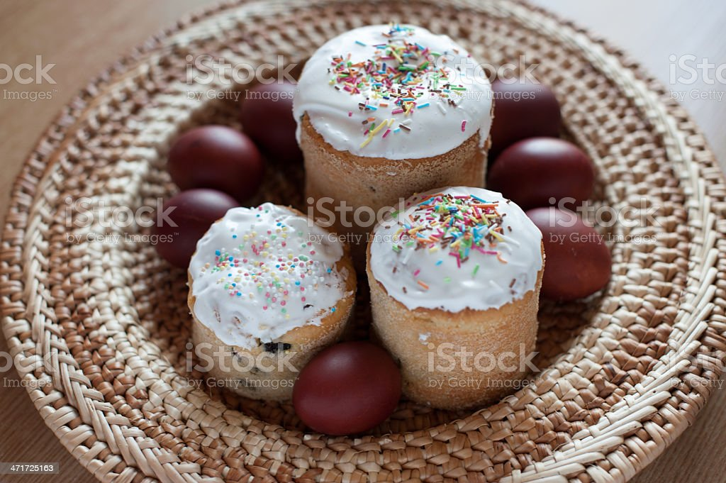 Russian Easter still life with cake, painted eggs and candle royalty-free stock photo