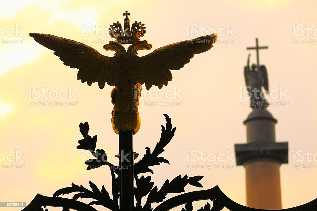 Russian emblem, gold double eagle head, Alexander column, St. Petersburg stock photo