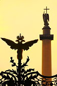 Russian emblem, gold double eagle head, Alexander column, St. Petersburg