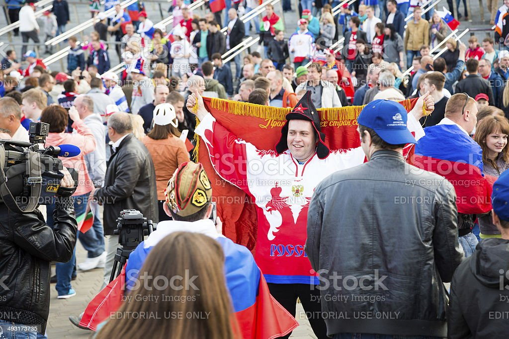 Russian Fans in Front of Minsk Arena in Belarus royalty-free stock photo