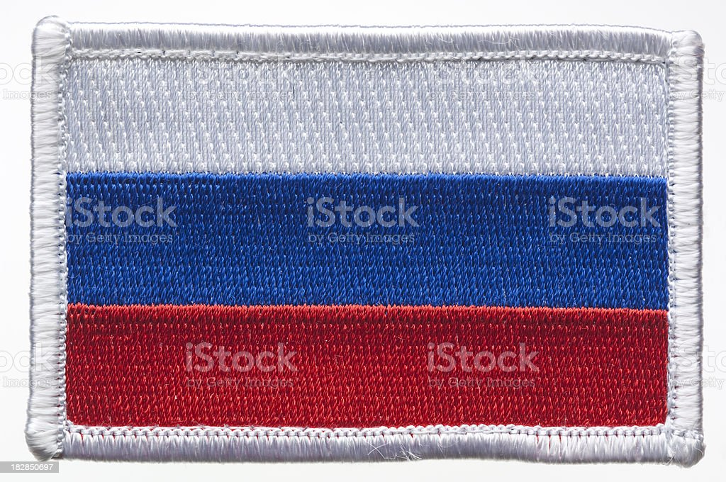 Russian Federation flag patch. stock photo