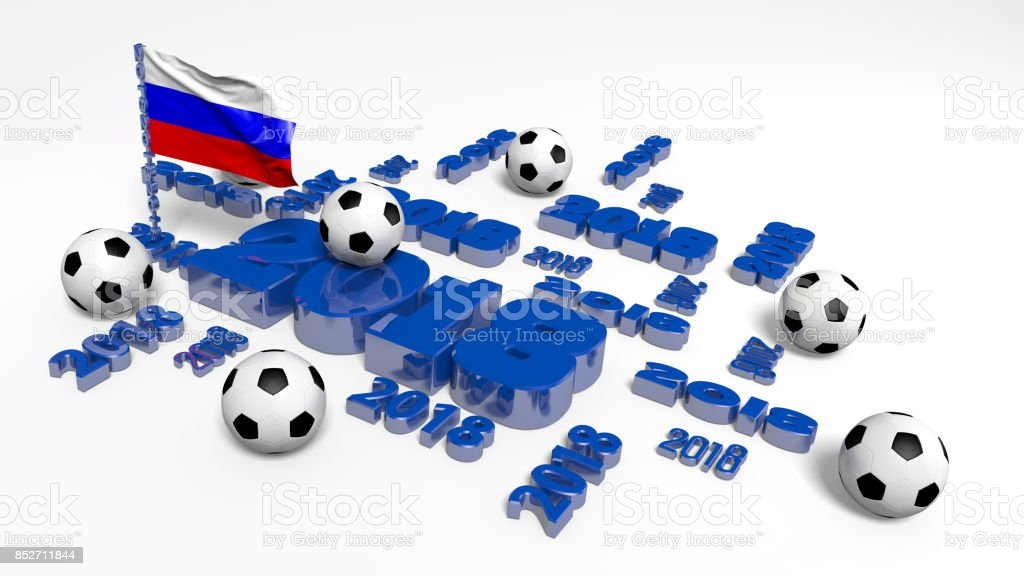 2018 Russian Flag and Footballs stock photo