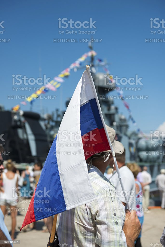 Russian flag and navy ship royalty-free stock photo