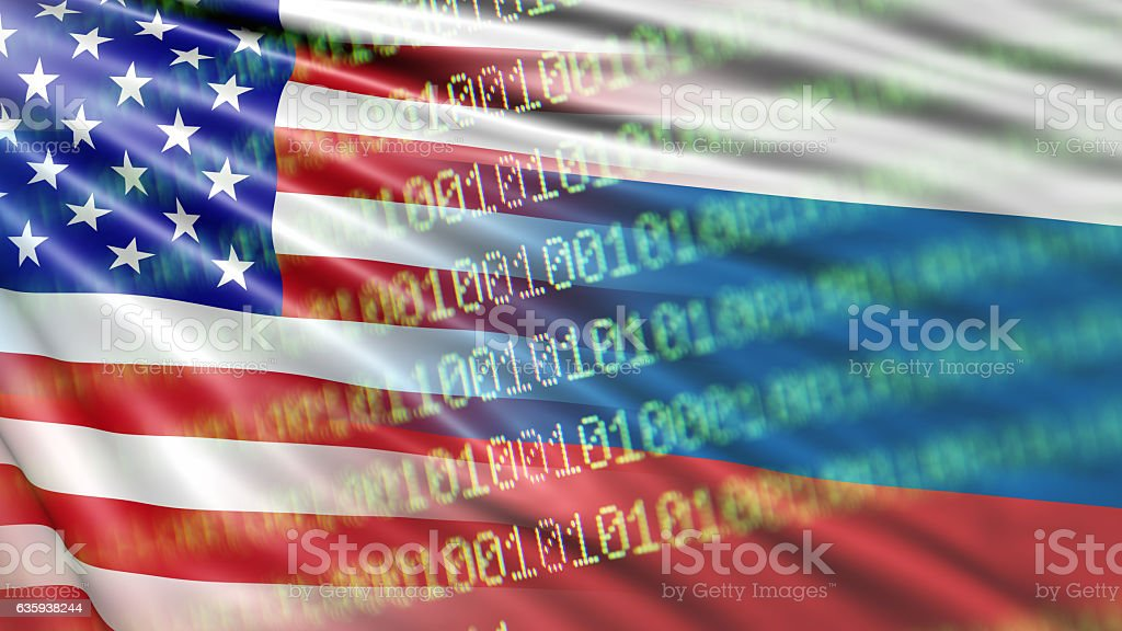 Russian Flag Hacking stock photo