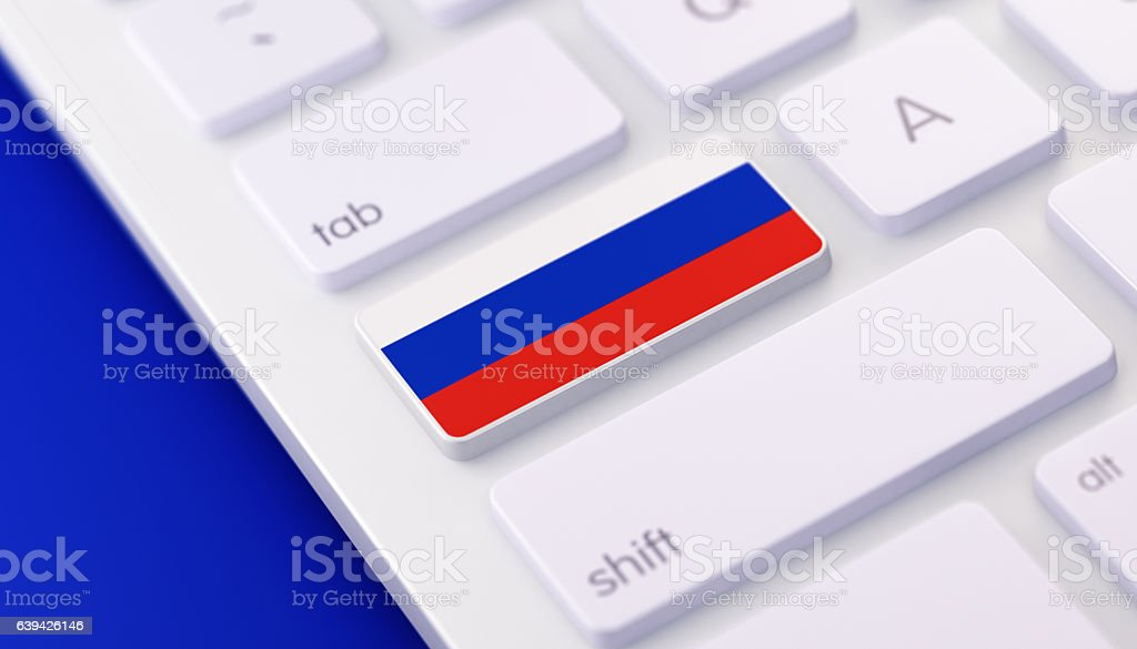 Russian Flag Keyboard button with Selective Focus stock photo