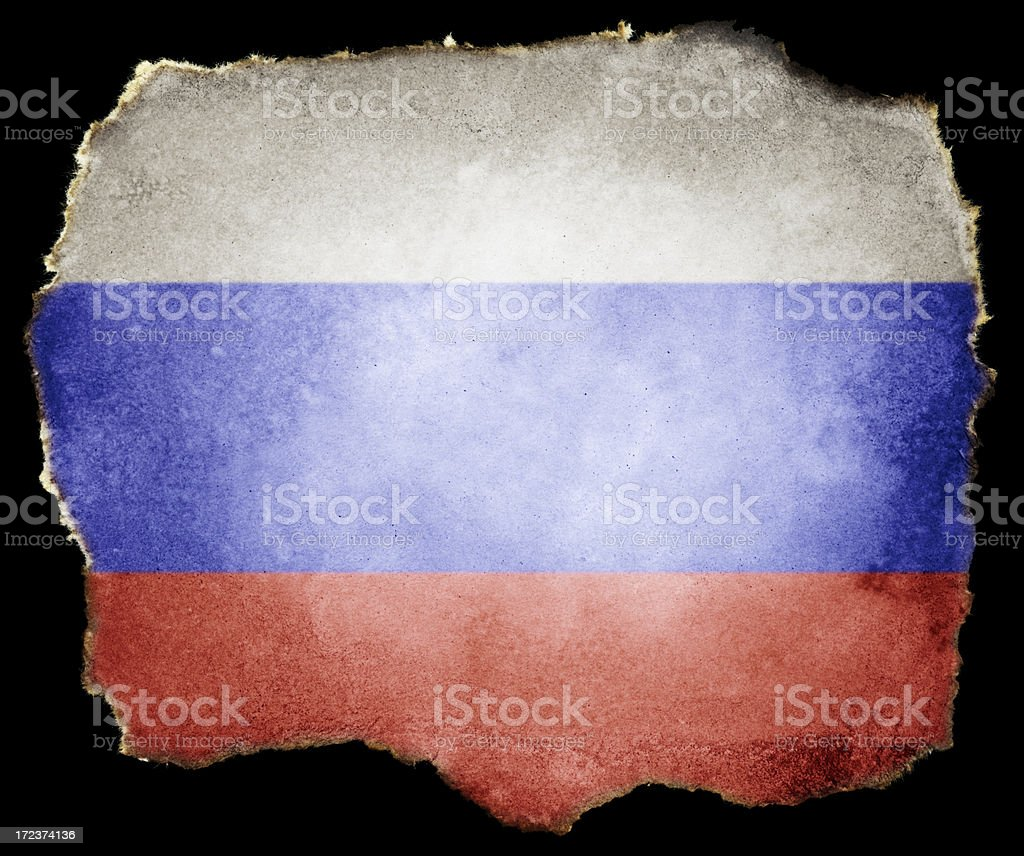 Russian Flag on Torn Paper (Clipping Path; XXL) royalty-free stock photo