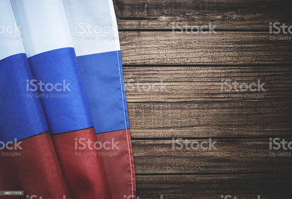 russian flag on wood with copyspace stock photo