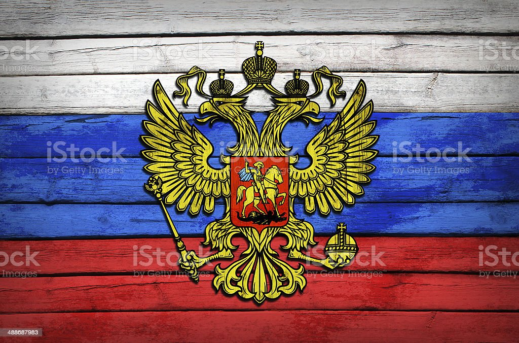 Russian flag painted on wooden boards stock photo