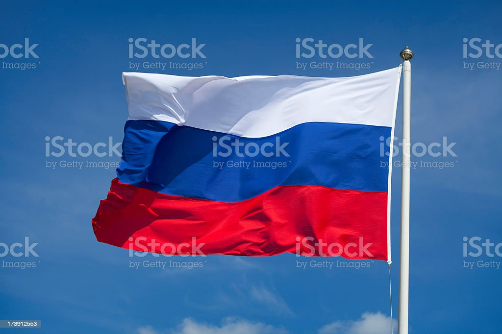 Russian flag waving in the wind stock photo