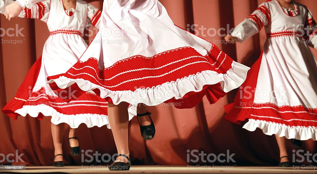 Russian folk dance with red-white girls waved skirt stock photo