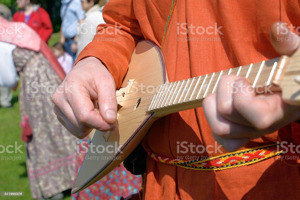 Russian folk musical instrument balalaika stock photo