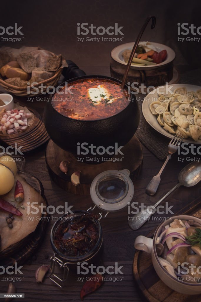 Russian food table stock photo