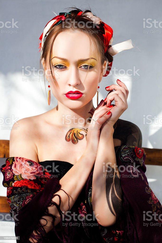 Russian girl fashion portrait stock photo