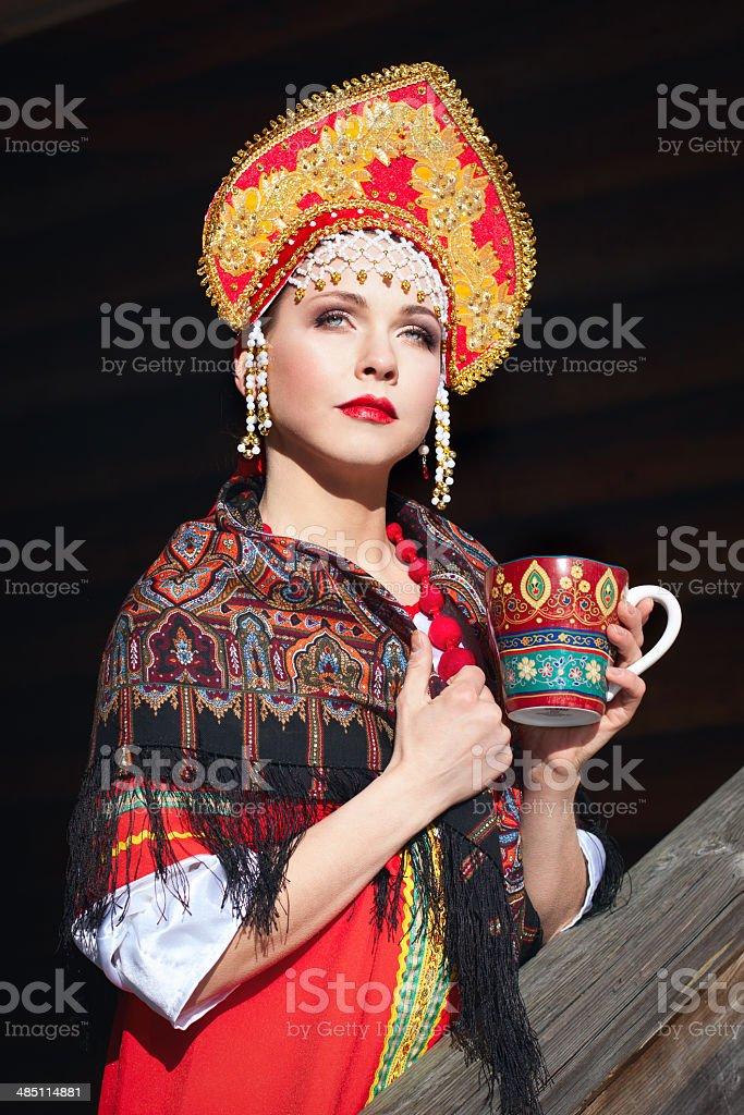Russian girl in a kokoshnik stock photo