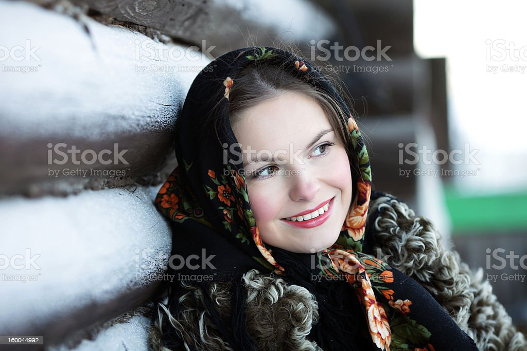 Russian girl in national dress royalty-free stock photo