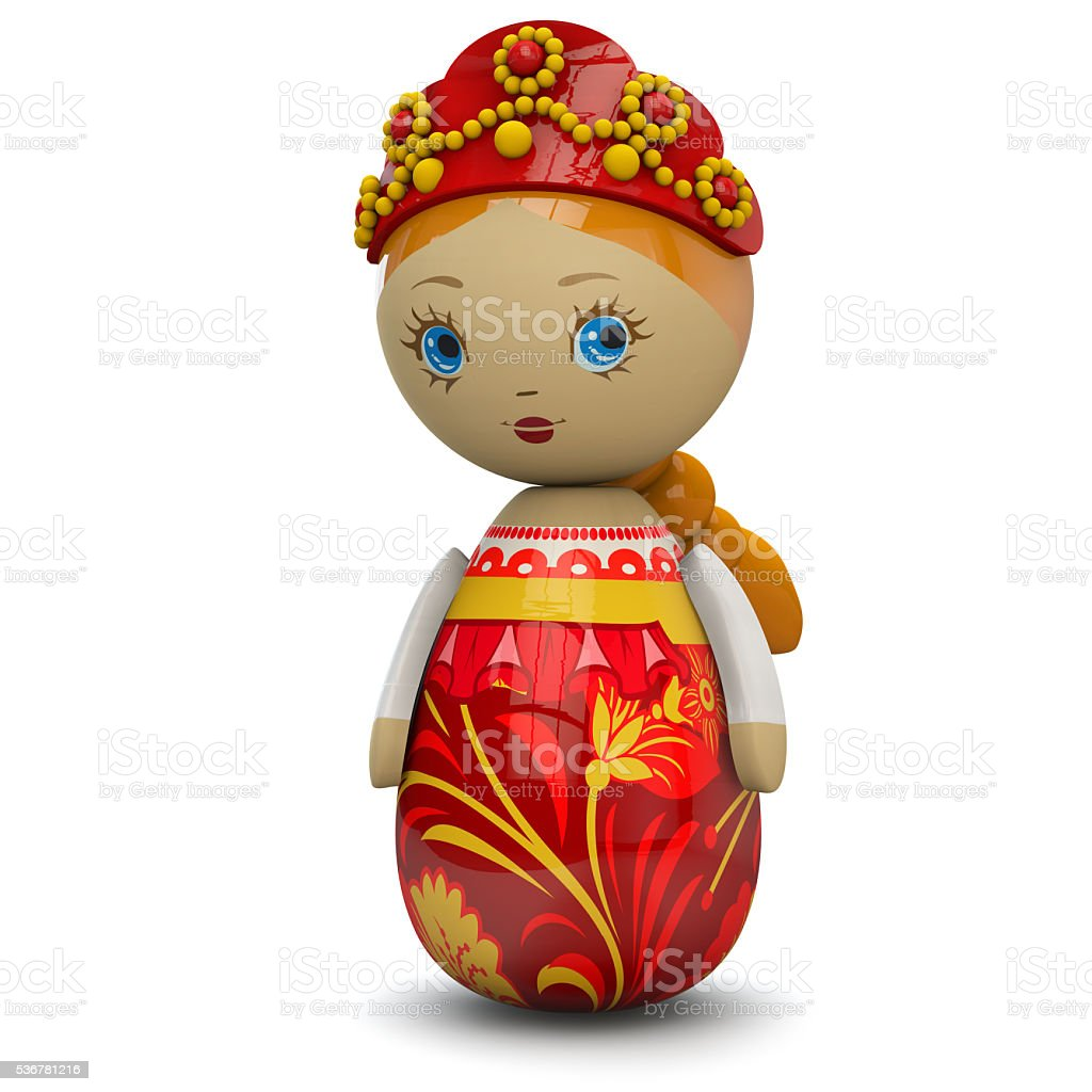 Russian Girl Wooden Doll Toy stock photo