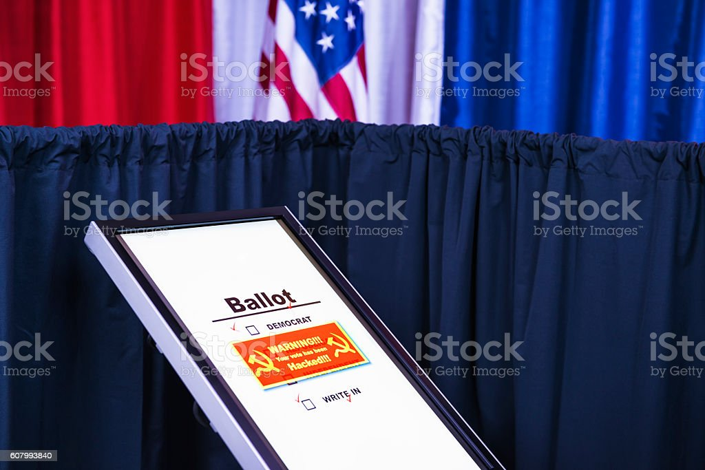 Russian hackers get into electronic voting machine stock photo