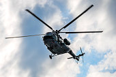 Russian helicopter MI-17 in the sky over Moscow on