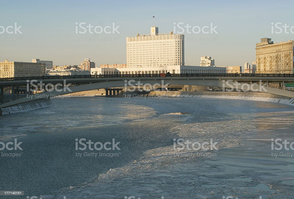 Russian house of government in Moscow stock photo