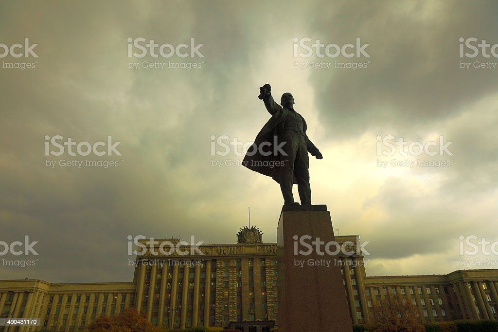Russian House of Soviets, Lenin on Moscow Square. St. Petersburg stock photo