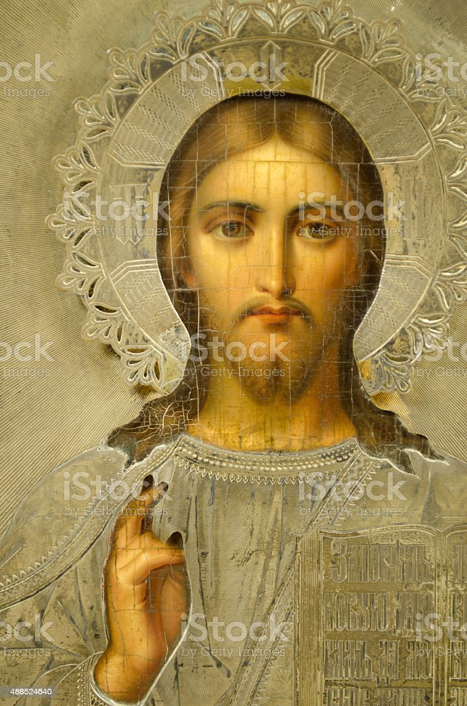 Russian Icon, 19th Century, Christ with hand raised stock photo