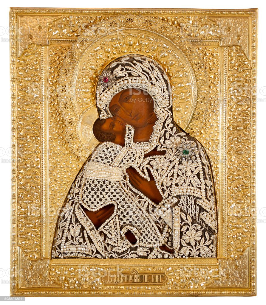 Russian Icon, 19th Century, Feodorovskaya Mother of God stock photo