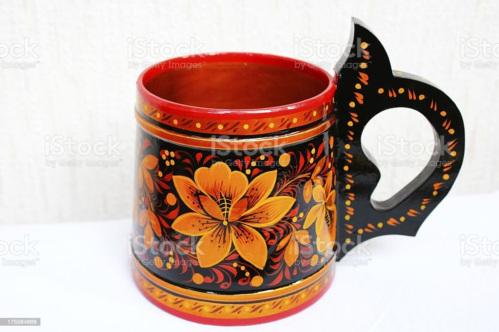 Russian Khokhloma wooden cup royalty-free stock photo