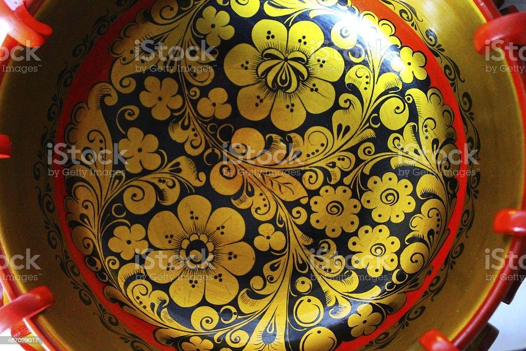 Russian Khokhloma wooden round bowl royalty-free stock photo