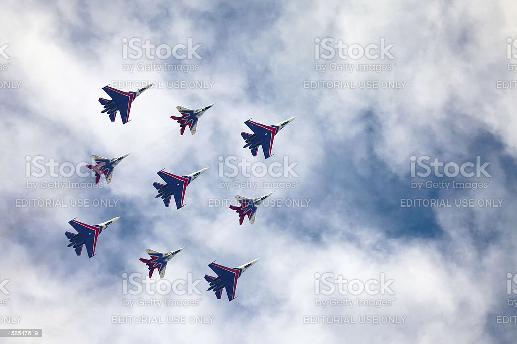 Russian Knights and their peers from the Swifts aerobatic team royalty-free stock photo