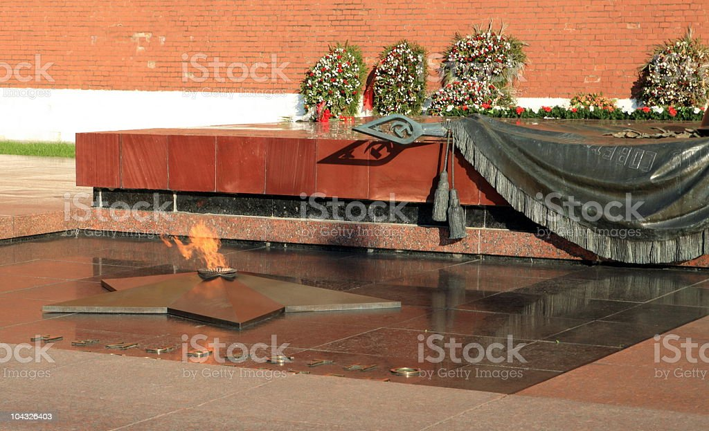 russian Kremlin eternal flame post royalty-free stock photo