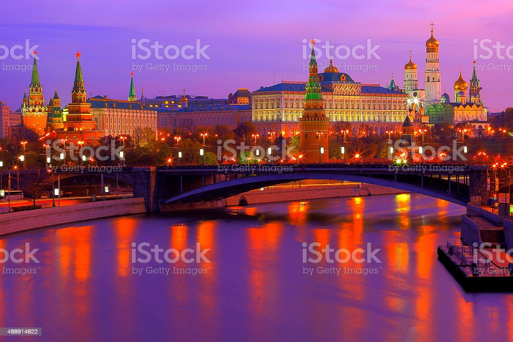 Russian Kremlin, Red Square, dramatic sunrise bright reflection, Moscow stock photo