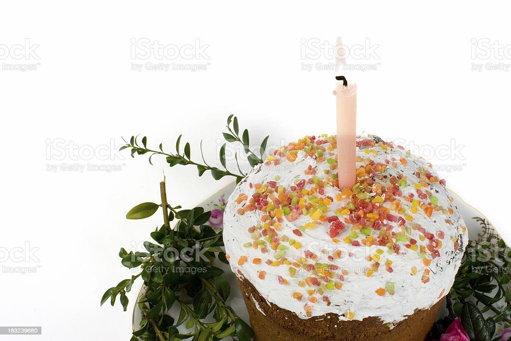 Russian Kulich cake on platter stock photo