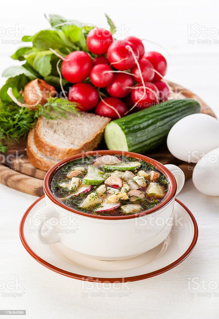 Russian kvass Cold Soup stock photo
