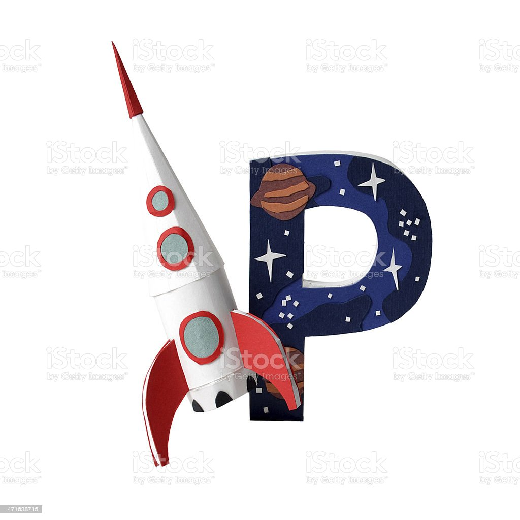 Russian letter R and a paper rocket royalty-free stock photo