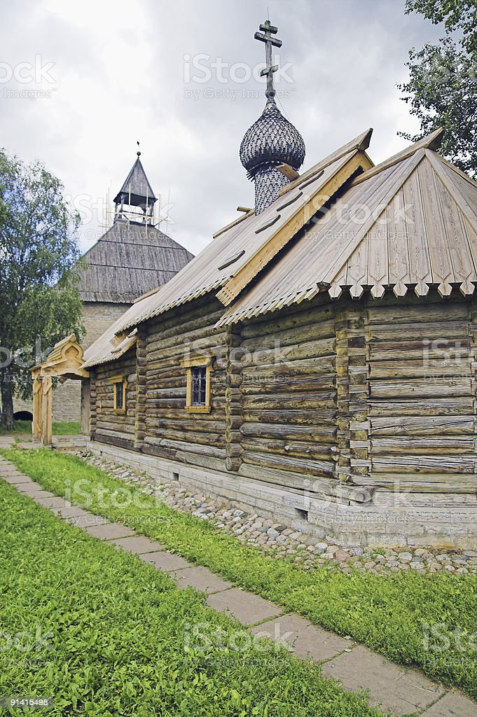 Russian loghouse church royalty-free stock photo
