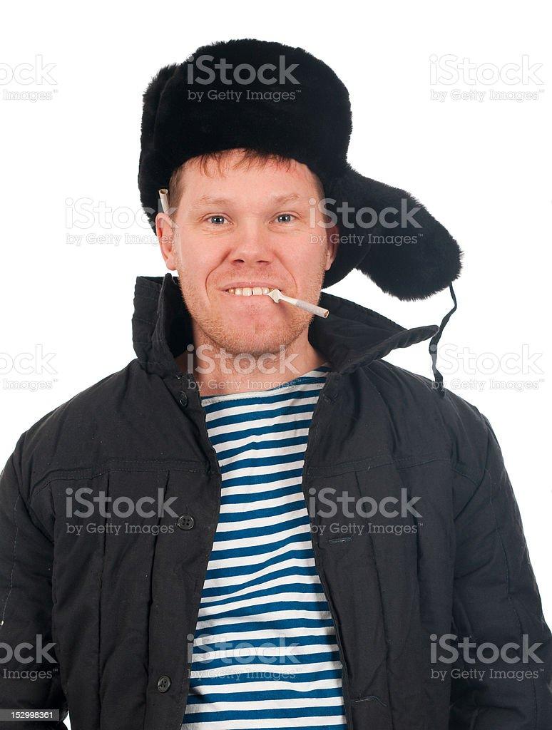 Russian man in winter fur cap royalty-free stock photo