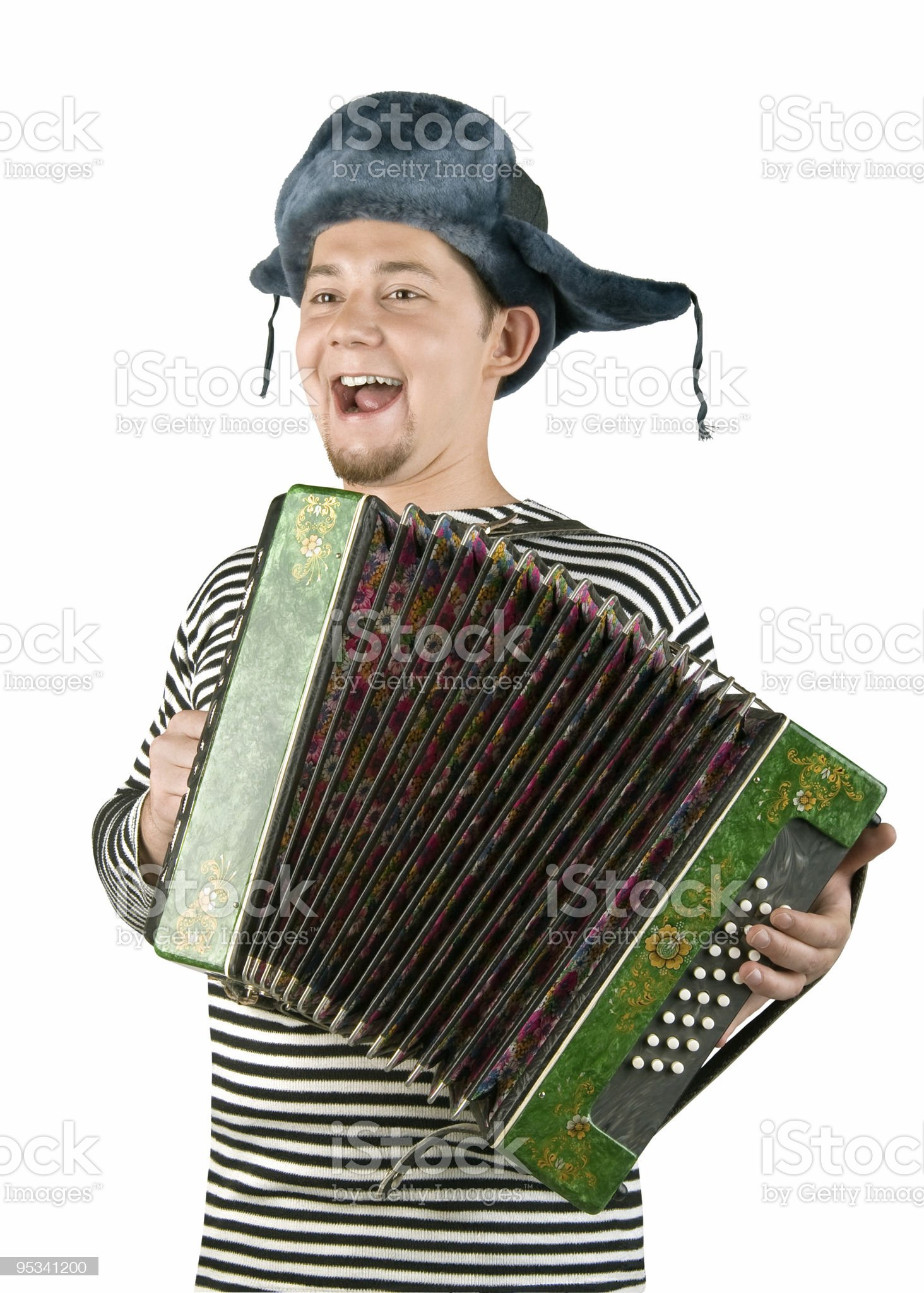 Russian man with accordion, isolated on white background royalty-free stock photo