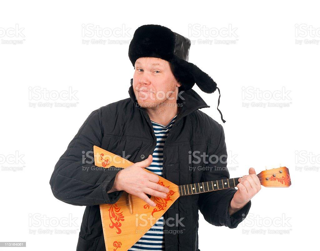 Russian man with balalaika stock photo
