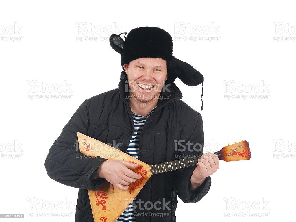 Russian man with balalaika,redneck.isolated stock photo