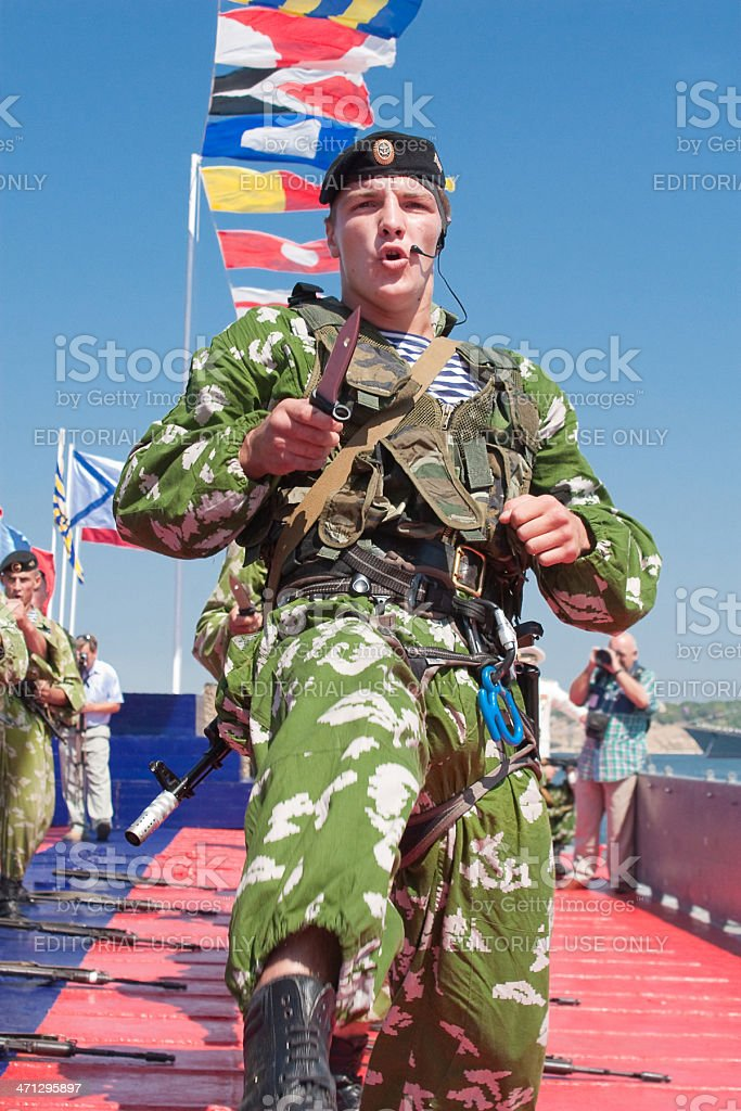 Russian marines demonstrate hand-to-hand fighting royalty-free stock photo