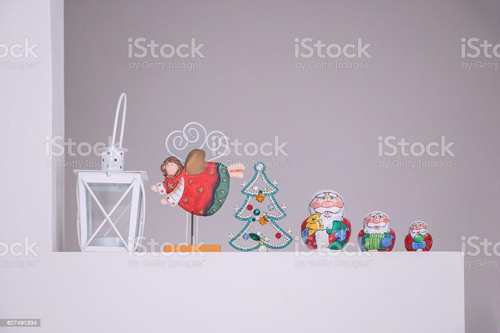 Russian Matreshka traditional with Santa Claus decoration stock photo